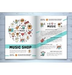 Music brochure modern icons line art style mock vector image