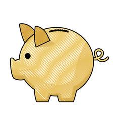 piggy bank safe money deposit concept vector image