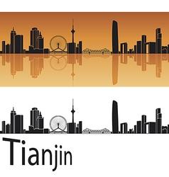 Tianjin skyline in orange background vector image vector image