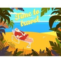 Tropical beach sun summer santa claus holiday vector image vector image