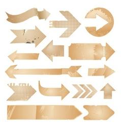 Arrow icons - vintage paper set vector image vector image