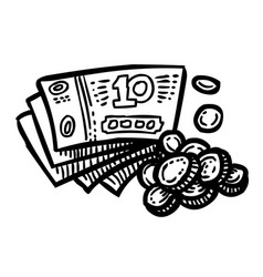 cartoon image of cash icon money symbol vector image vector image
