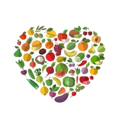 Food heart Vegetables and fruit set of icons vector image vector image