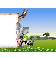 Funny animal cartoon with blank sign vector