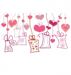 gift boxes and hearts vector image vector image