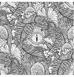 Graphic dinosaur eye and prehistoric plants vector
