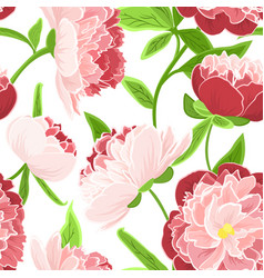 peony rose flowers seamless pattern red pink green vector image