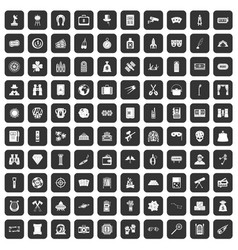 100 adult games icons set black vector image