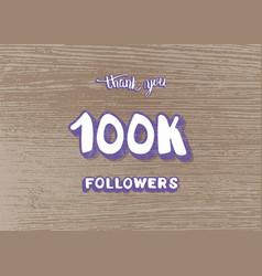 100k followers thank template vector