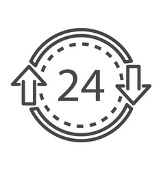 24 hours delivery icon outline style vector image