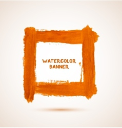 Abstract orange watercolor hand-drawn banner vector