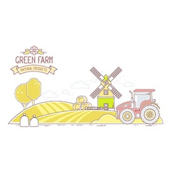 Agribusiness of autumn harvest yellow farm l vector