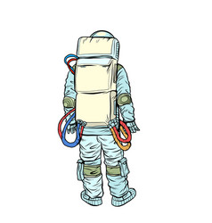 Astronaut stands with his back vector