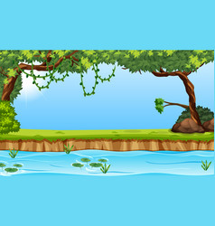 Beauiful river envrioment scene vector