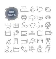 Big data outline icon set pictogram set vector