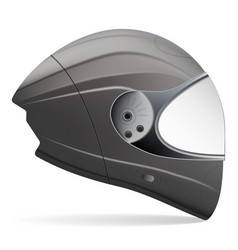 Black motorcycle helmet side view isolated on a vector