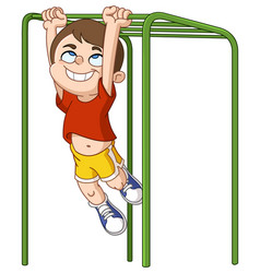 Boy climbs monkey bars vector