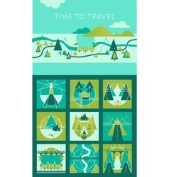 Camping and Travel Infographic set with Icons and vector