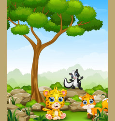Cartoon cheetah with skunk and fox in the jungle vector