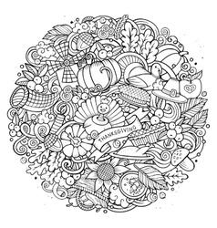 Cartoon Doodle Thanksgiving Day circle vector