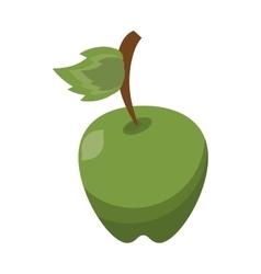 cartoon green apple leave fruit icon vector image