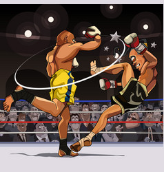 cartoon male fighters are paired in the ring vector image