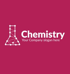Chemical flask with lines connected dots vector