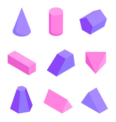 colorful figures set various prisms templates vector image