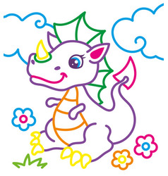 Coloring book of cute dragon vector