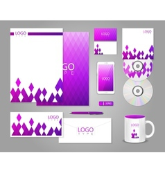 Corporate identity template with purple rhombuses vector image