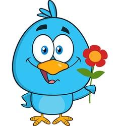 Cute Bird with Flower Cartoon vector image