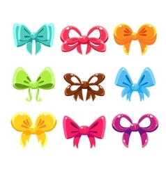 Cute Colorful Bows Set Set vector image