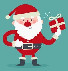 Cute Santa Holding a Gift vector image
