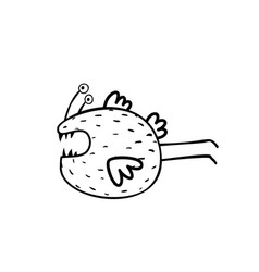 Cute scary monster character coloring page vector