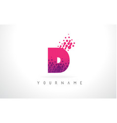 D letter logo with pink purple color and vector