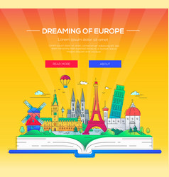 dreaming of europe - line travel vector image