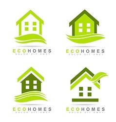 Ecological houses real estate logo design vector image