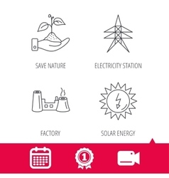Electricity station factory and solar energy vector