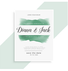 Elegant watercolor wedding invitation template vector