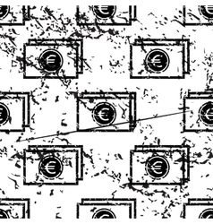 Euro banknote pattern grunge monochrome vector image