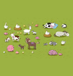 farm animals cute cartoon horse cow and goat vector image