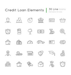 financial aid linear icons set vector image