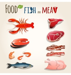 Fish and meat set vector