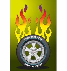 flaming wheel vector image