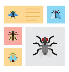 Flat icon buzz set of tiny gnat dung and other vector