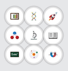 Flat icon science set nuclear diagram lecture vector