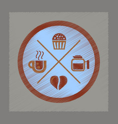 flat shading style icon coffee logo vector image
