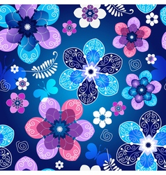 Floral dark blue seamless spring pattern vector