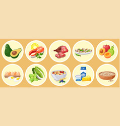 Food collection isolated in circles healthy meal vector
