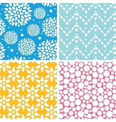 Four vibrant abstract geometric patterns and vector